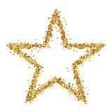 在白色背景的星状金黄五彩纸屑星 库存图片