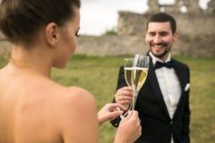 新娘夫妇叮当声杯香槟 免版税库存照片