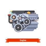 Современный двигатель внутреннего сгорания автомобиля Стоковое фото RF