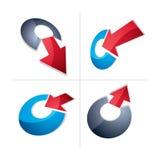 与简单的箭头的三维图表元素收藏 免版税库存图片