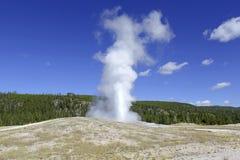 老忠实的喷泉,黄石国家公园,怀俄明 免版税库存照片