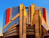 现代建筑学,高科技与玻璃门面 免版税库存图片