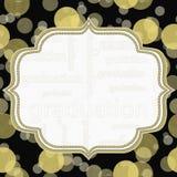 黄色和黑毕业圆点框架背景 免版税库存照片