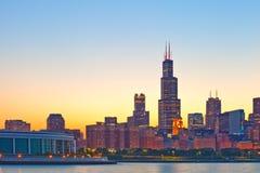 芝加哥街市伊利诺伊,美国地平线  免版税库存图片