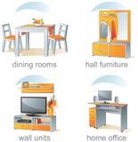 установленные детали иконы мебели домашние Стоковые Изображения RF