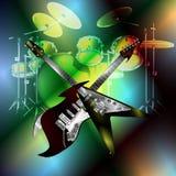 十字准线在鼓背景的岩石吉他  图库摄影