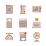 Комплект значков и концепций бытовых приборов вектора в плоском стиле Стоковая Фотография