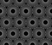 Το διανυσματικό σύγχρονο άνευ ραφής σχέδιο γεωμετρίας περιβάλλει την ομόκεντρη, γραπτή περίληψη Στοκ Εικόνες