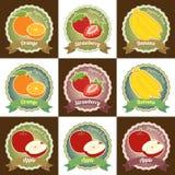 套各种各样的新鲜水果优质质量标记标签徽章贴纸和商标在传染媒介设计 库存图片