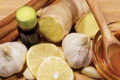 Εναλλακτική ιατρική με το σκόρδο, την πιπερόριζα, το μέλι και την κανέλα Στοκ φωτογραφία με δικαίωμα ελεύθερης χρήσης