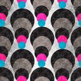 Χρωματισμένοι κύκλοι σε ένα γκρίζο υπόβαθρο με το φωτισμό γεωμετρικό πρότυπο άνευ ραφής Στοκ Εικόνα