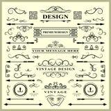 套葡萄酒装饰元素 华丽书法装饰品和框架 邀请的减速火箭的样式设计收藏, 免版税库存照片