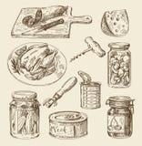 Нарисованный рукой эскиз еды Стоковые Изображения RF
