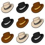 动画片五颜六色的帽子无缝的样式 库存照片