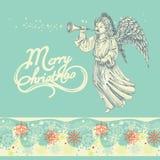 圣诞节天使贺卡 免版税库存照片