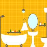 橙色卫生间 库存图片