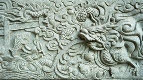 雕刻中国龙 免版税库存图片
