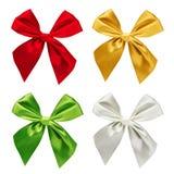 被隔绝的套五颜六色的丝带 免版税库存图片