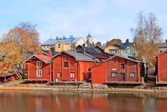 波尔沃 芬兰 老红色存贮藏库 免版税库存图片