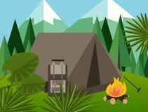 Στρατόπεδων δασικό διάνυσμα ζουγκλών πυρκαγιάς σακιδίων πλάτης δέντρων πεύκων απεικόνισης υποβάθρου βουνών επίπεδο γραφικό Στοκ Εικόνες