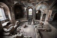 古老罗马浴 卡塔尼亚,西西里岛 意大利 免版税图库摄影