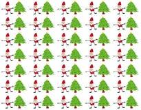 圣诞老人和圣诞树无缝的样式 库存图片