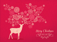 圣诞快乐新年鹿假日卡片自然 免版税库存照片