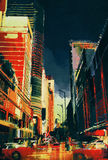 有办公楼的城市街道,例证 库存照片