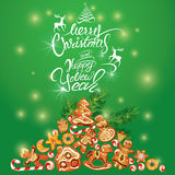Κάρτα διακοπών χαιρετισμού του μελοψώματος Χριστουγέννων Στοκ εικόνα με δικαίωμα ελεύθερης χρήσης