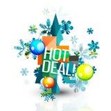 热的成交推销活动为圣诞节标记,证章 免版税库存照片