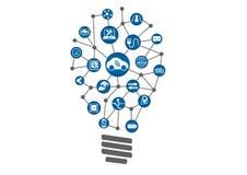 被连接的汽车概念当技术创新 被连接的设备电灯泡  免版税库存照片