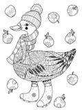 在滑稽的帽子乱画的圣诞节鹅 图库摄影