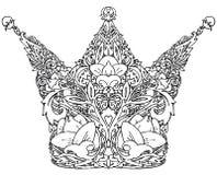 Διακοσμητική βασιλική κορώνα Γραφική βασιλική κορώνα απεικόνισης Χειροποίητη απεικόνιση τέχνης Στοκ Εικόνες