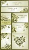 套葡萄酒名片和横幅与花卉橄榄色的设计 免版税库存图片