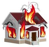 白色石房子烧伤 反对火的财产保险 家庭保险 库存照片