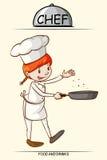 Θηλυκό μαγείρεμα αρχιμαγείρων με ένα τηγάνι Στοκ φωτογραφία με δικαίωμα ελεύθερης χρήσης