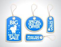 销售被设置的新年标记,蓝色 免版税库存图片