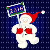 滑稽的雪人跳跃为喜悦的,圣诞节横幅 免版税库存图片