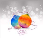 Χρυσές και μπλε διακοσμήσεις Χριστουγέννων στο ασημένιο υπόβαθρο με το διάστημα για το κείμενο Κάρτα Χαρούμενα Χριστούγεννας οι δ Στοκ Εικόνα