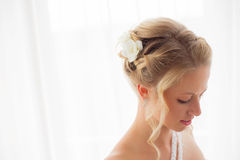 新娘婚姻的发型 免版税库存照片