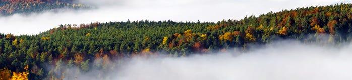雾运动海洋在照相机下的 在阿尔萨斯的伟大的阴云密布 从山的上面的全景 免版税库存图片