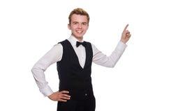 Ο νεαρός άνδρας στη μαύρη κλασική φανέλλα που απομονώνεται επάνω Στοκ Φωτογραφία