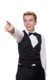 Ο νεαρός άνδρας στη μαύρη κλασική φανέλλα που απομονώνεται επάνω Στοκ εικόνες με δικαίωμα ελεύθερης χρήσης