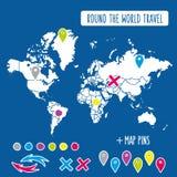与别针和箭头传染媒介的手拉的世界地图 免版税库存照片