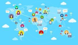 社会媒介通信世界地图概念 库存照片