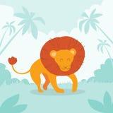Вектор леса джунглей льва шаржа ретро плоский Стоковые Фото