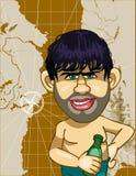 讽刺描画有一个瓶的一个人在背景地图 库存图片