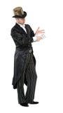 魔术师与纸牌的展示把戏 免版税库存图片