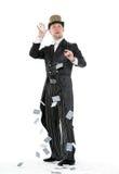 魔术师与纸牌的展示把戏 免版税库存照片