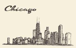 Διάνυσμα αρχιτεκτονικής πόλεων οριζόντων του Σικάγου που σύρεται Στοκ Εικόνα